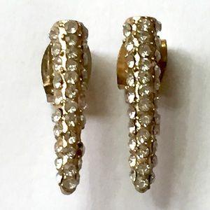 Pave rhinestone spike earrings gold
